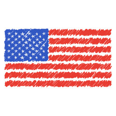 Hand Drawn National Flag Of Usa Isolated On A White Background. Vector Sketch Style Illustration. Unique Pattern Design For Brochures, Printed Materials, Logos, Independence Day