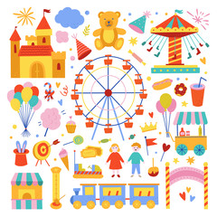 Amusement park cute illustrations collection. Attractions, sweet food, magical equipment icons and symbols. Weekend and holiday activities