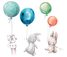 Little cute hares collection fly with balloon.