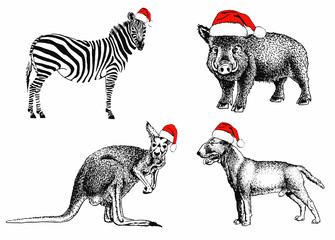 Graphical set of animals in Santa Claus hats isolated on white background,vector sketch,new year illustration