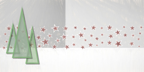abstract decorative starfield and xmas trees illustration backdrop