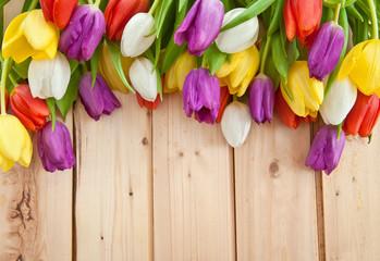 Fresh tulips on wooden background