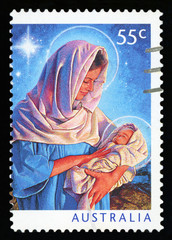 AUSTRALIA - CIRCA 2011: A canceled postage stamp from Australia, shows the illustration of Mary and the baby Jesus, commemorating Christmas, circa 2011.