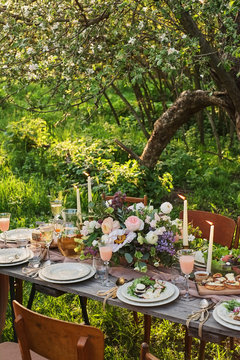 wedding decorated table, decor wedding dinner in nature in the garden