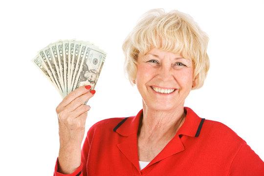 Seniors: Woman Holding Up Money Fan