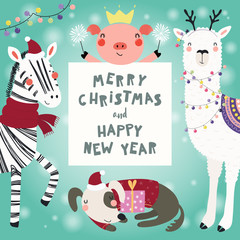 Foto op Aluminium Illustraties Hand drawn card with cute funny animals in Santa Claus hats, smowmen, text Merry Christmas and Happy New Year. Vector illustration. Scandinavian style flat design. Concept for children print.
