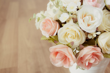 Decorative sweet flower in vase .