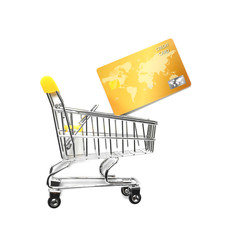 0db64b1c3e0 Small cart with mobile phone and credit card on color background ...