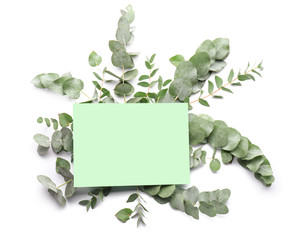 Wall Mural - Green eucalyptus branches and paper card on white background