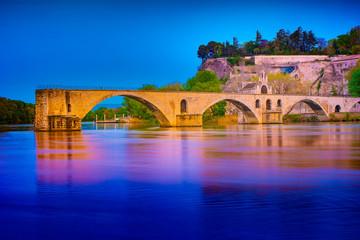 Avignon Bridge and Popes Palace, Avignon, night view, France.