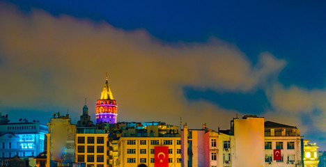 Galata tower and colorful buildings of Karakoy. Istanbul, Turkey.