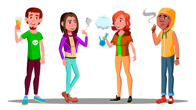 Difficult Teenagers - Alcohol, Cigarettes, Drugs Addiction Vector. Isolated Illustration