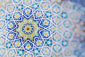 Traditional architecture in Uzbekistan. Uzbekistan ethnic ornament. Wall mural