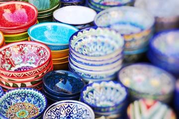 Plates and pots on a street market in the city of Khiva Uzbekistan.