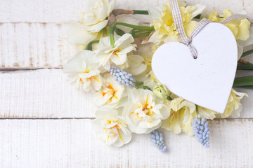 Yellow  daffodils and muscaries flowers and decorative heart  on white painted wooden planks.