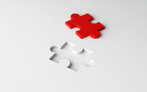 Missing jigsaw puzzle pieces in unfinished work, strategy and solution business concept. White pattern texture background. 3d illustration