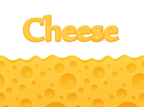 horizontal seamless Cheese background with Copy space at top - Vector Cartoon pattern.