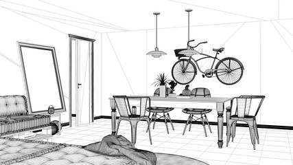 Interior design project, black and white ink sketch, architecture blueprint showing minimalistic living room with sofa and dining table, minimalist architecture