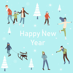 Happy New Year poster with happy people and winter activities.