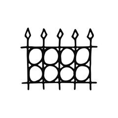 fence icon. Isolated sketch for infographic object on light background.