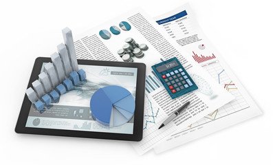 charts, tablet and financial documents isolated on white background