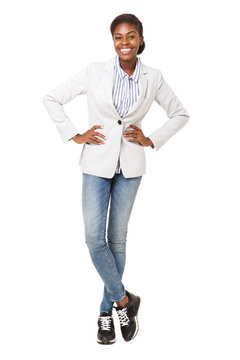Full body smiling african american woman against isolated white background