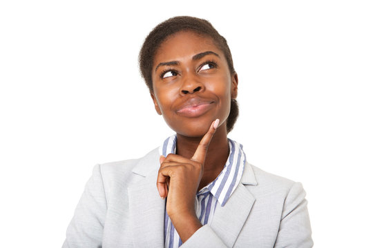 Close up attractive young black woman thinking and looking up