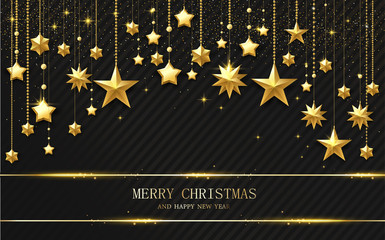 Merry Christmas and Happy New Year card with golden shiny stars.