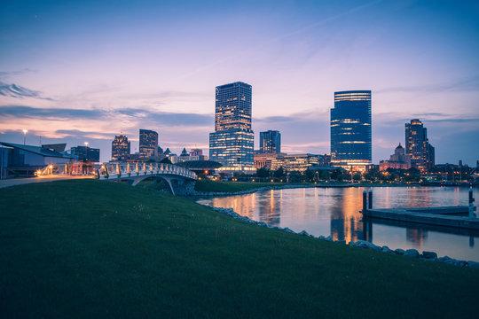 Panorama of Milwaukee at night