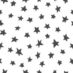 Stars hand drawn seamless pattern. Black and white