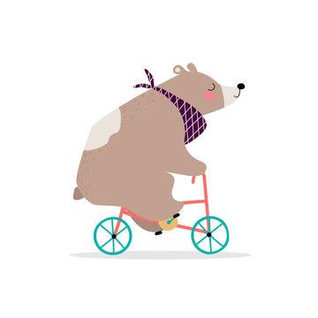 Funny bear on a bike.