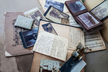 Old photos,albums and correspondence.