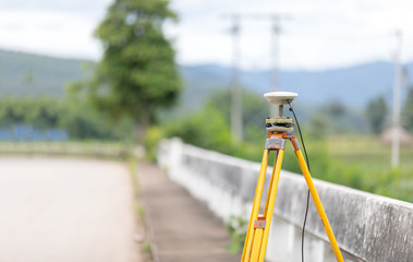 GPS surveying in field, Global Positioning System.