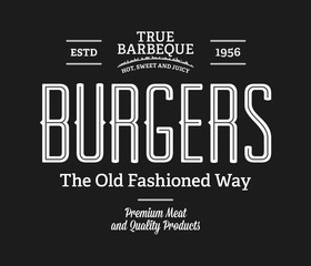 Burgers true barbeque white on black