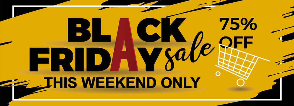 Black friday banner design with ink splash and frame. 3d text paper cut style vector illustration.
