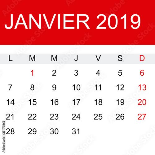 Calendario Frances.Calendario Enero 2019 En Frances Stock Image And Royalty