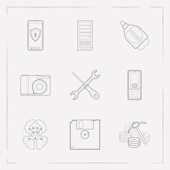 Set of technology icons line style symbols with server, photo camera, mobile security and other icons for your web mobile app logo design.