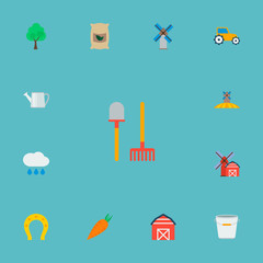 Set of agricultural icons flat style symbols with horseshoe, pail, tractor and other icons for your web mobile app logo design.