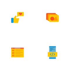 Set of wd icons flat style symbols with photo library, social engagement, mobile app coding and other icons for your web mobile app logo design.