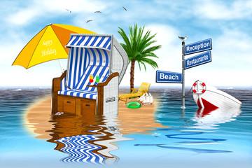 Strandkorb auf kleiner Insel mit Boot und Palme