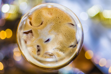 A coffee flavoured cocktail with ice cubes