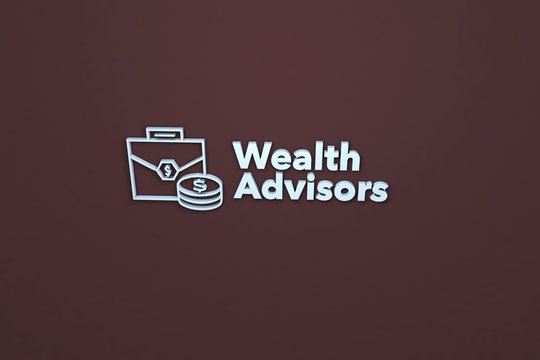 Text Wealth Advisors with blue 3D illustration and brown background
