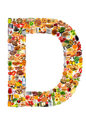 FOODFONT LETTER D ON WHITE