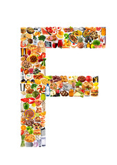 FOODFONT LETTER F ON WHITE