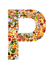 FOODFONT LETTER P ON WHITE