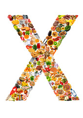 FOODFONT LETTER X ON WHITE