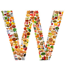 FOODFONT LETTER W ON WHITE