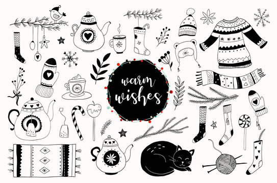 Christmas hand drawn elements collection, vector design