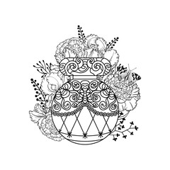 Illustration of woman perfume bottle with rose flowers and butterfly. Vector design elements with text place