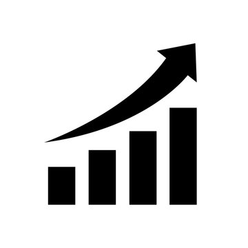 Vector growing graph icon, logo on white background